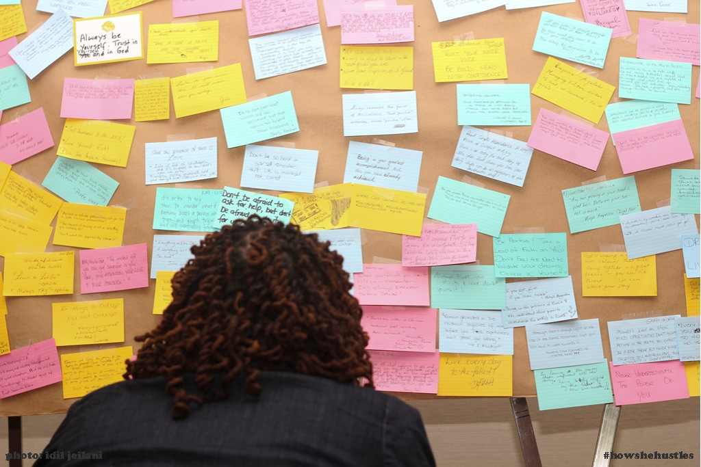Wall of Wisdom: Each woman at brunch offered  tips, a quote or piece of advice